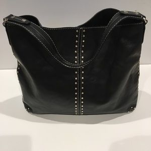 Michael Kors black studded leather shoulder bag.
